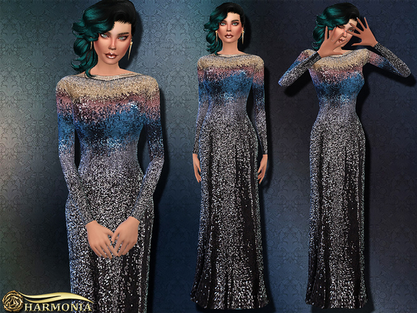 Heavily Embellished Sequined Gown by Harmonia