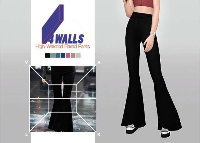 4 Walls High-Waisted Flared Pants by waekey