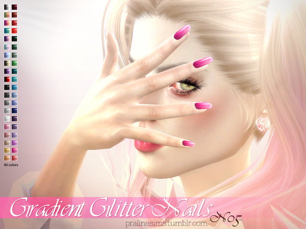 Gradient Glitter Nails N05 by Pralinesims