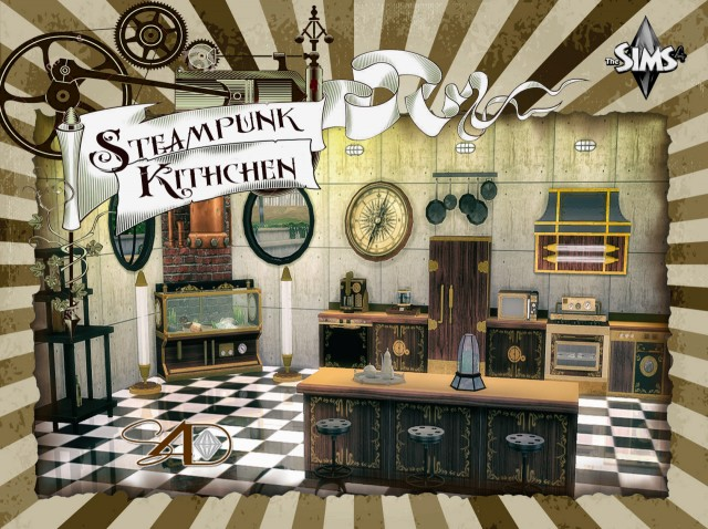 Ts3 to Ts4 Conversion of Steampunk Kitchen by Daer0n