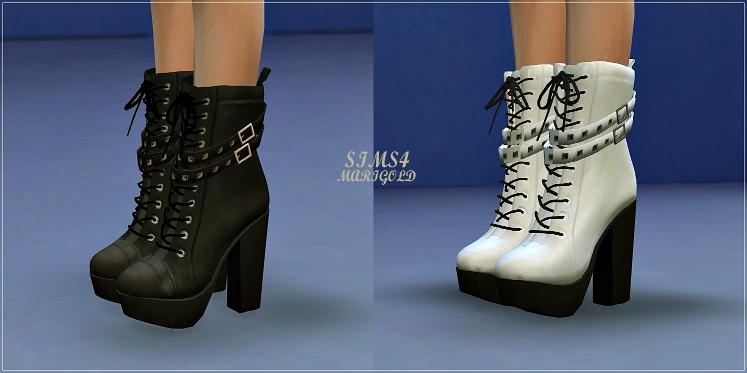 Chunky Studded Leather Boots for Females by Marigold