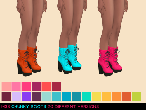 Chunky Boots Recolors by MidnightSkySims