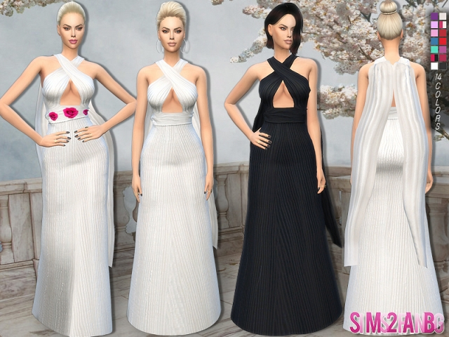 145 - Long 3d designer dress by sims2fanbg