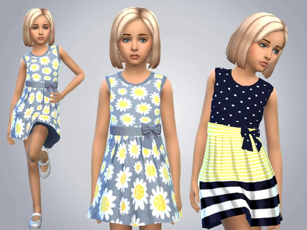 Girls Blue And Yellow Dresses by SweetDreamsZzzzz