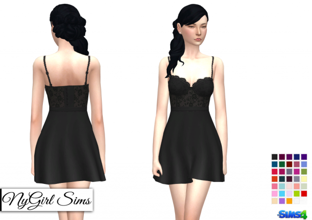 Lace Corset Flare Dress (Solids and Prints) by NyGirl