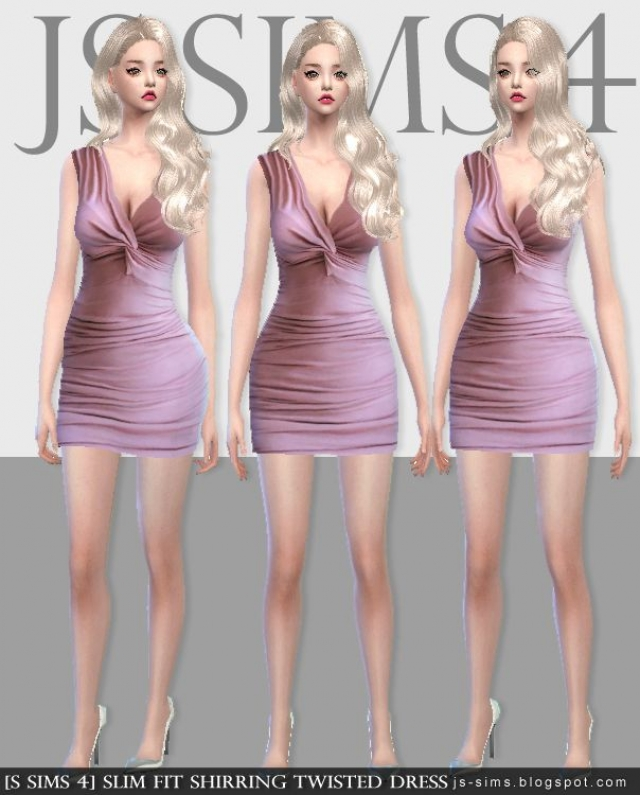 Slim Fit Shirring Twisted Dress by JS SIMS 4