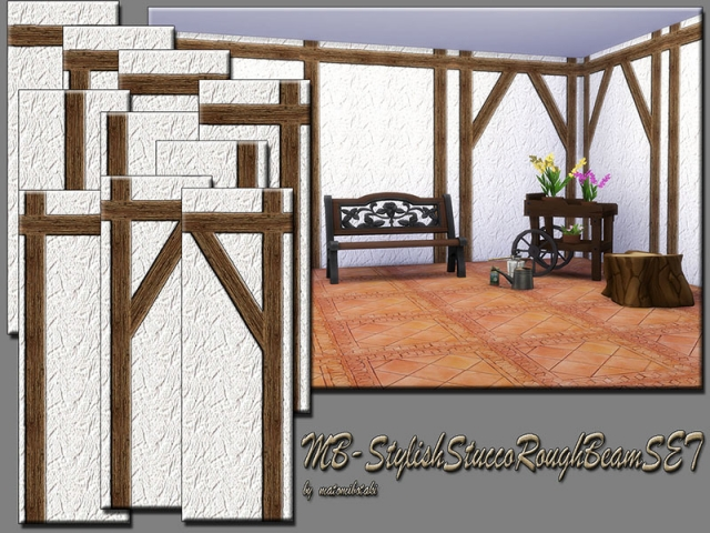 Stylish Stucco Rough Beam SET by matomibotaki