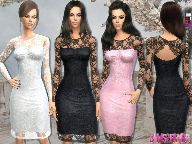 147 - Bridal lace dress by sims2fanbg