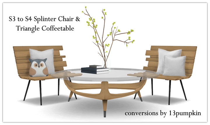 TS3 Splinter Chair and Triangle Coffee Table by 13Pumpkin31