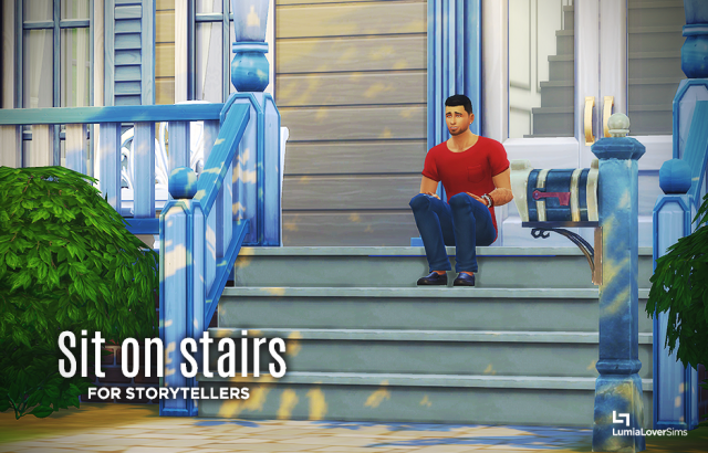 Мод, позволяющий сидеть на ступеньках Sit on stairs by LumiaLoverSims