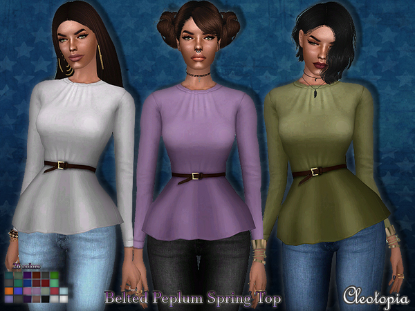 Set54- Belted Peplum Spring Top by Cleotopia