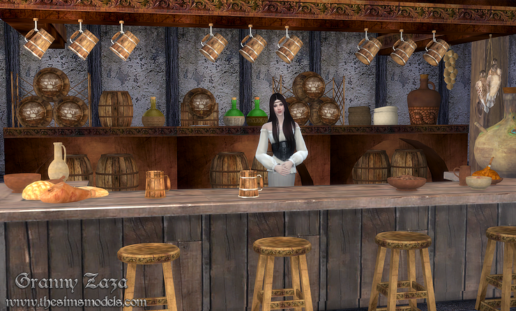 Medieval tavern set for TS4 by Granny Zaza