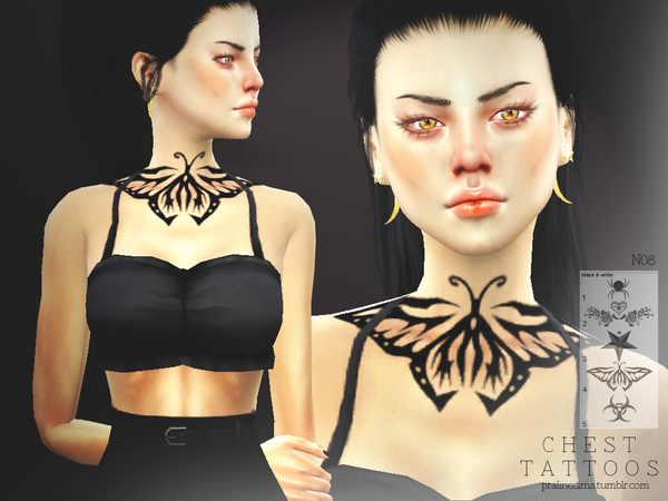 Chest Tattoos N08 by Pralinesims