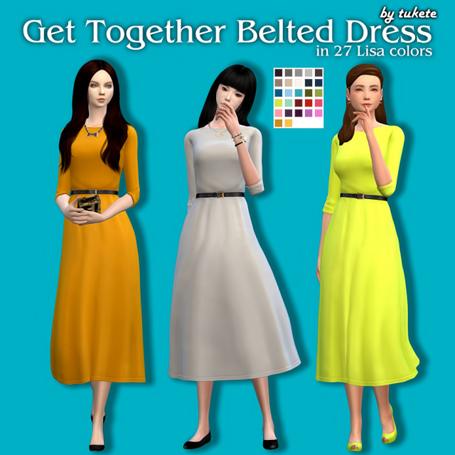 Get Together Belted Dress in 27 Recolors by Tukete