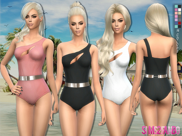 154 - One Shoulder Swimwear by sims2fanbg