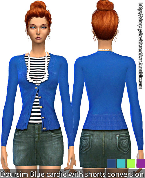 Doursim Blue cardie with shorts conversion by SIMply David