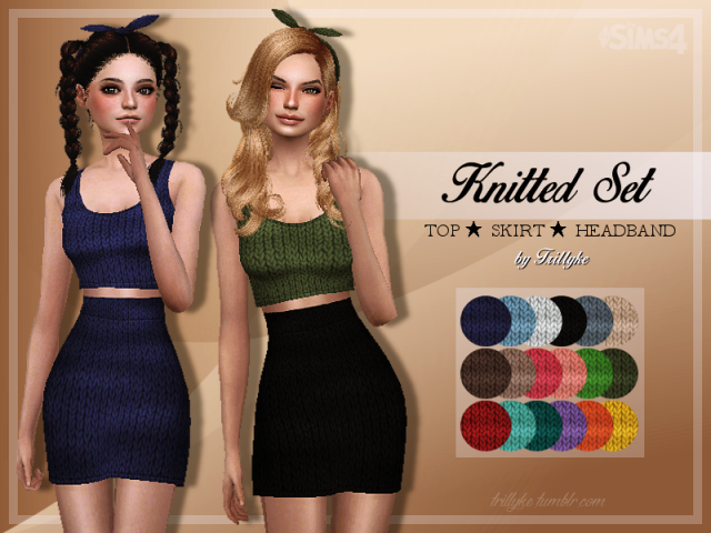 Knitted Set (Top  Skirt  Headband) by Trillyke