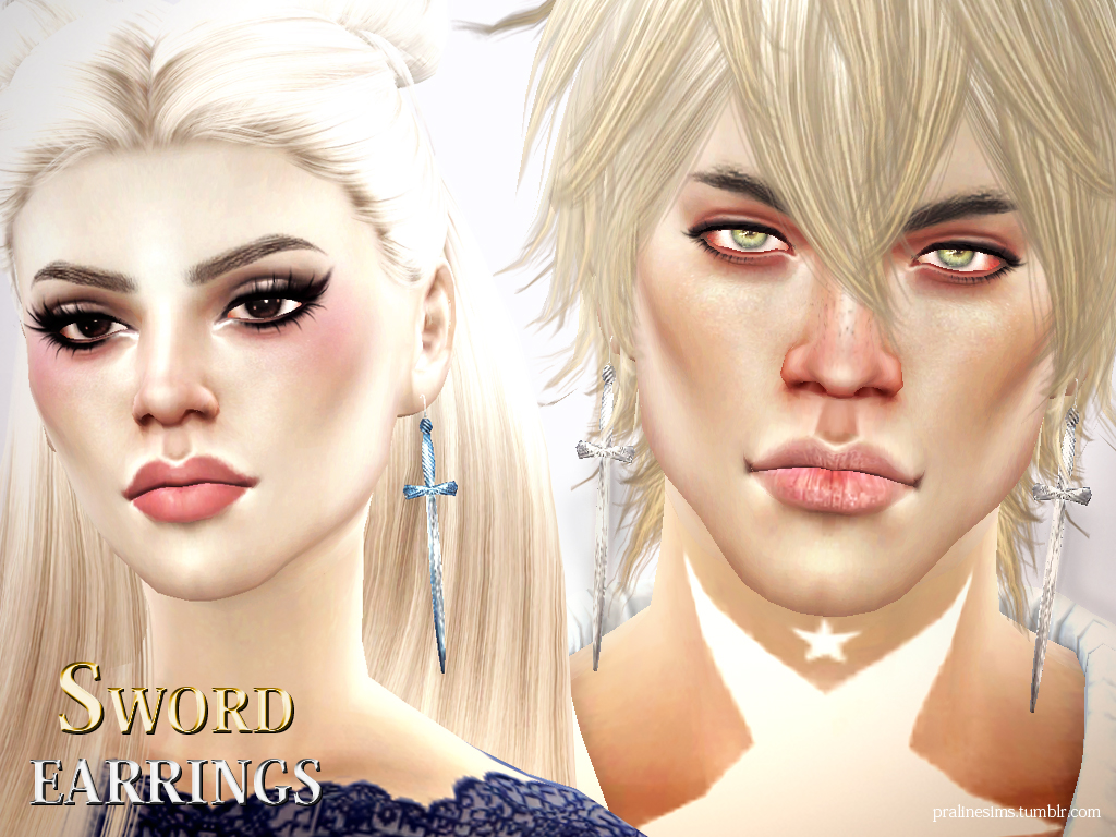 Sword Earrings by PralineSims