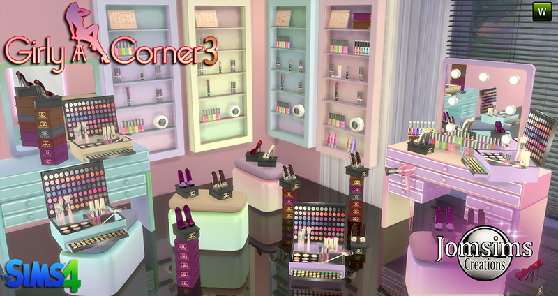 Girly Corner Vanity and Clutter by JomSims