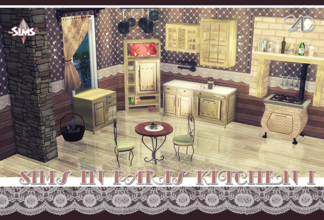 TS2 Sims in Paris Kitchen Conversions by Daer0n