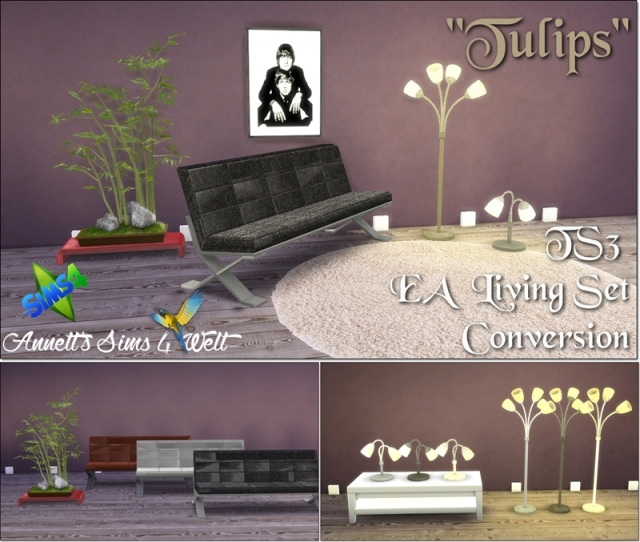 "TS3 EA Living Set ""Tulips"" Conversion by Annett85"