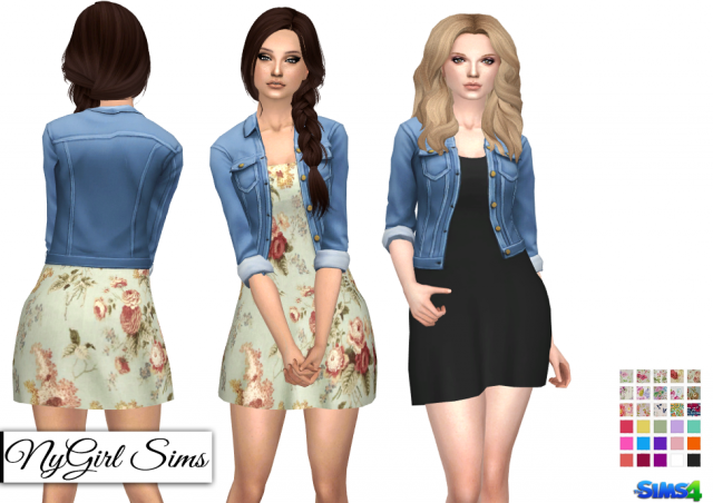 Spring Dress with Denim Jacket by NyGirl