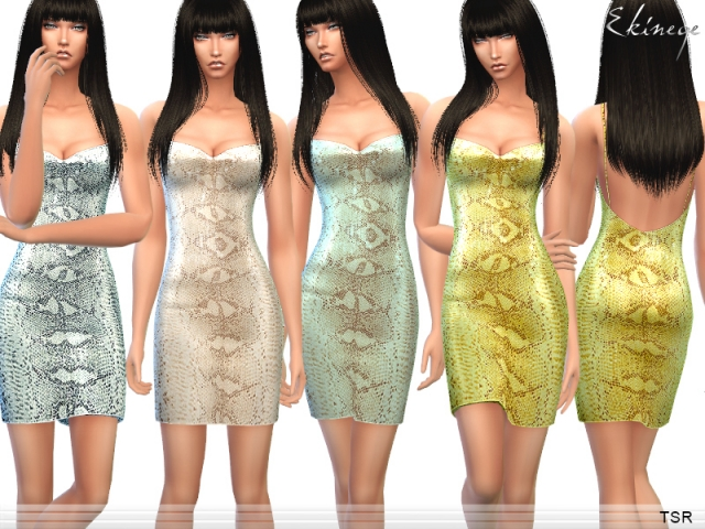Snake Print Sequin Mini Dress by ekinege