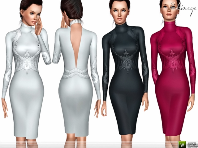 Long Sleeve Embellished Dress by Ekinege