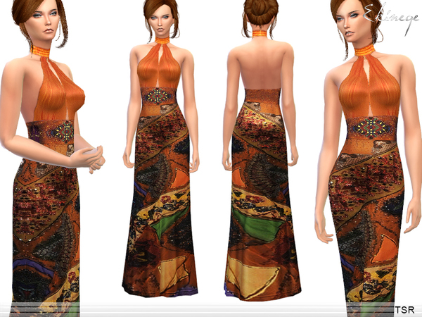 Ethnic Print Halter Backless Dress by ekinege