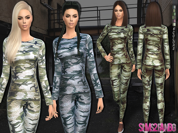 158 - Camouflage outfit by sims2fanbg