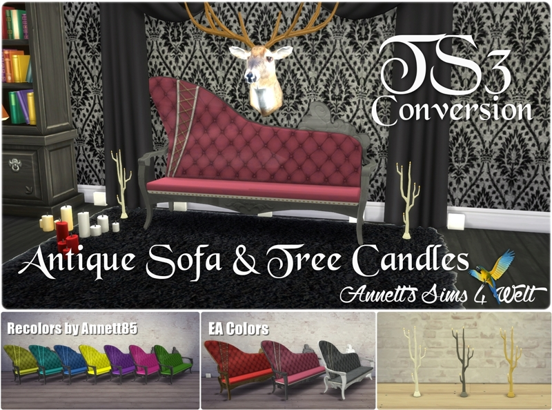 TS3 Antique Sofa, Tree and Candles Conversions by Annett85