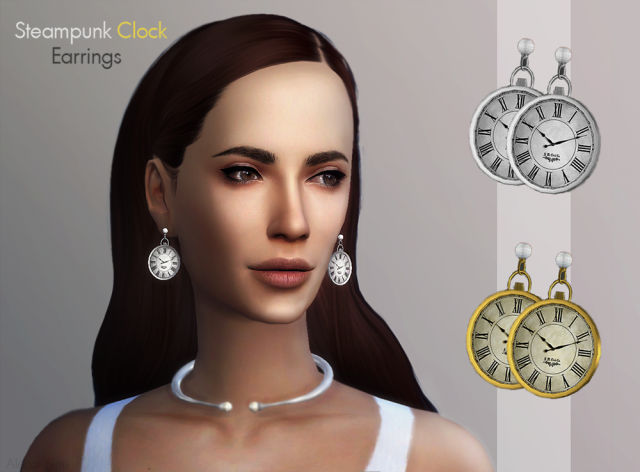 Steampunk Clock Earrings by AlecaiSims