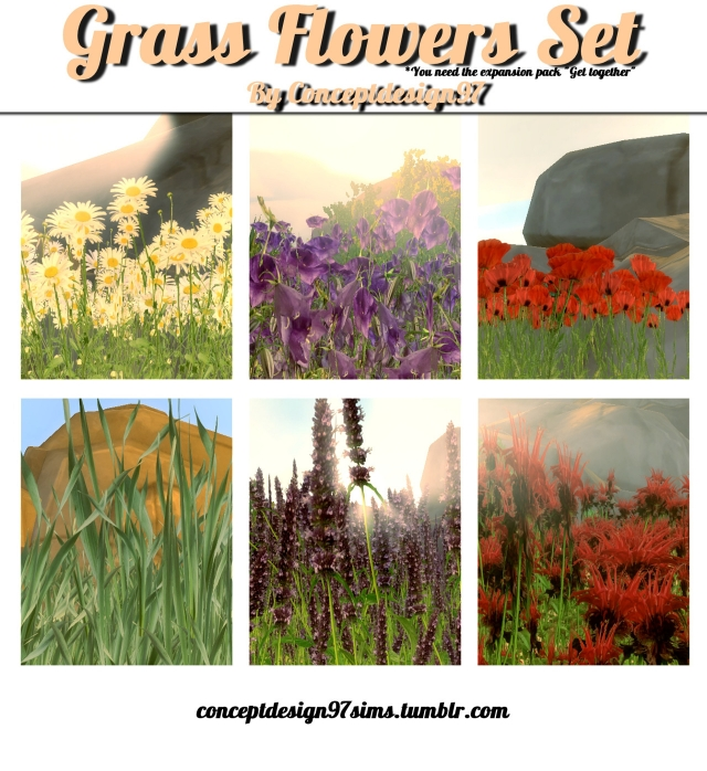 Grass and Flowers Set by ConceptDesign97Sims