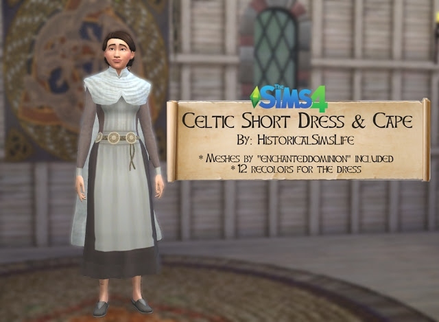 Celtic Short Dress and Cape by HistoricalSimsLife