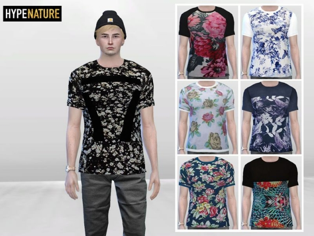 Large Floral Mens Tees by McLayneSims