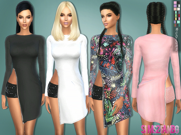 161 - Zip Dress with skirt by sims2fanbg