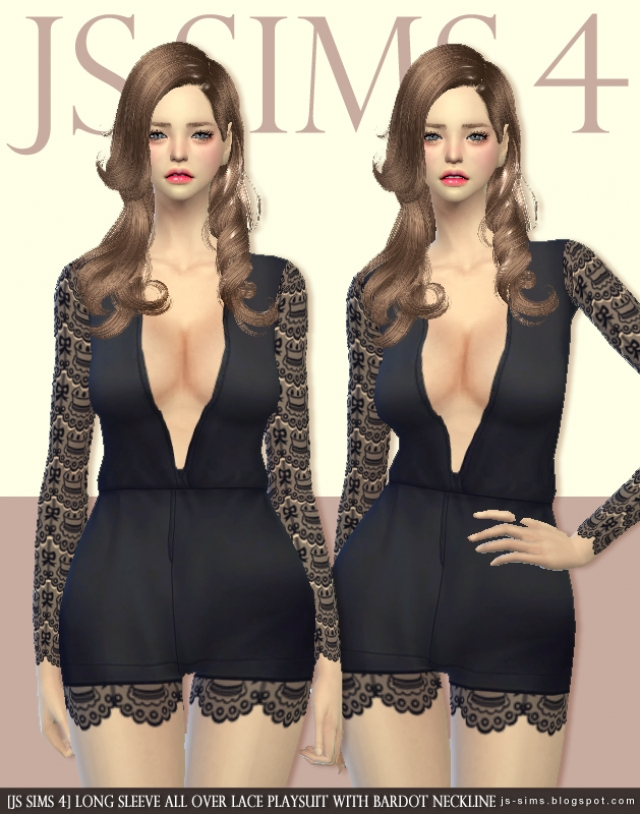 Long Sleeve All Over Lace Playsuit With Bardot Neckline by JS SIMS 4