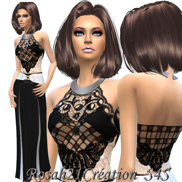 LONG SKIRT & LACE TOP BY ROSAH21 AT SIMS DENTELLE