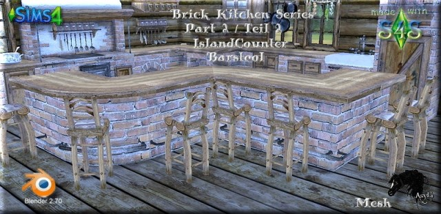 Island Counter with Barstool Part 2 by Asyli