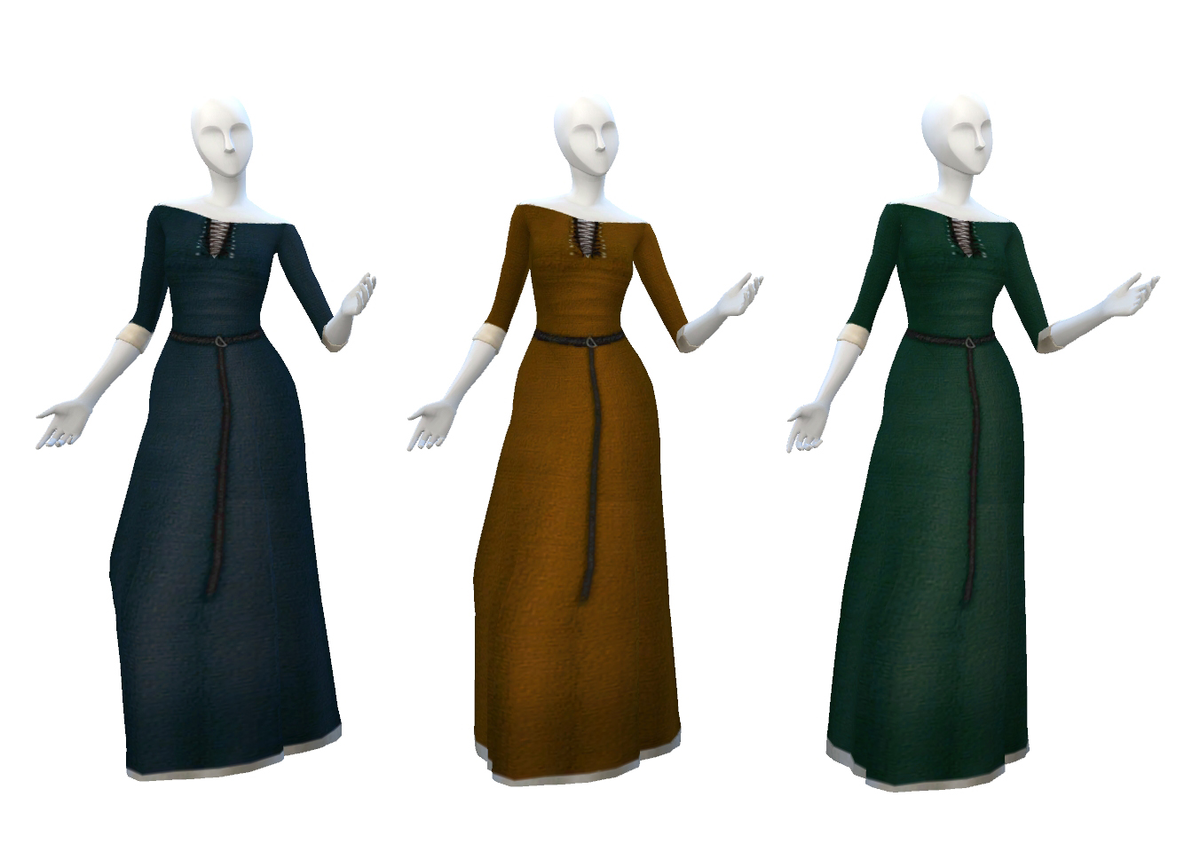 Everyday Medieval Dress in 11 Colors by Historical Sims Life