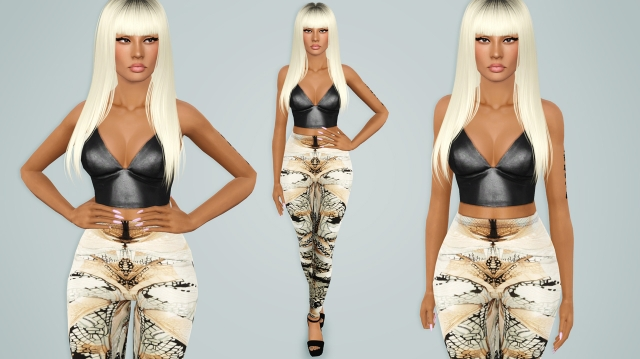 Alexander Wang black leather bralette with Alexander McQueen beige wing print stretch legging by Alecseycool