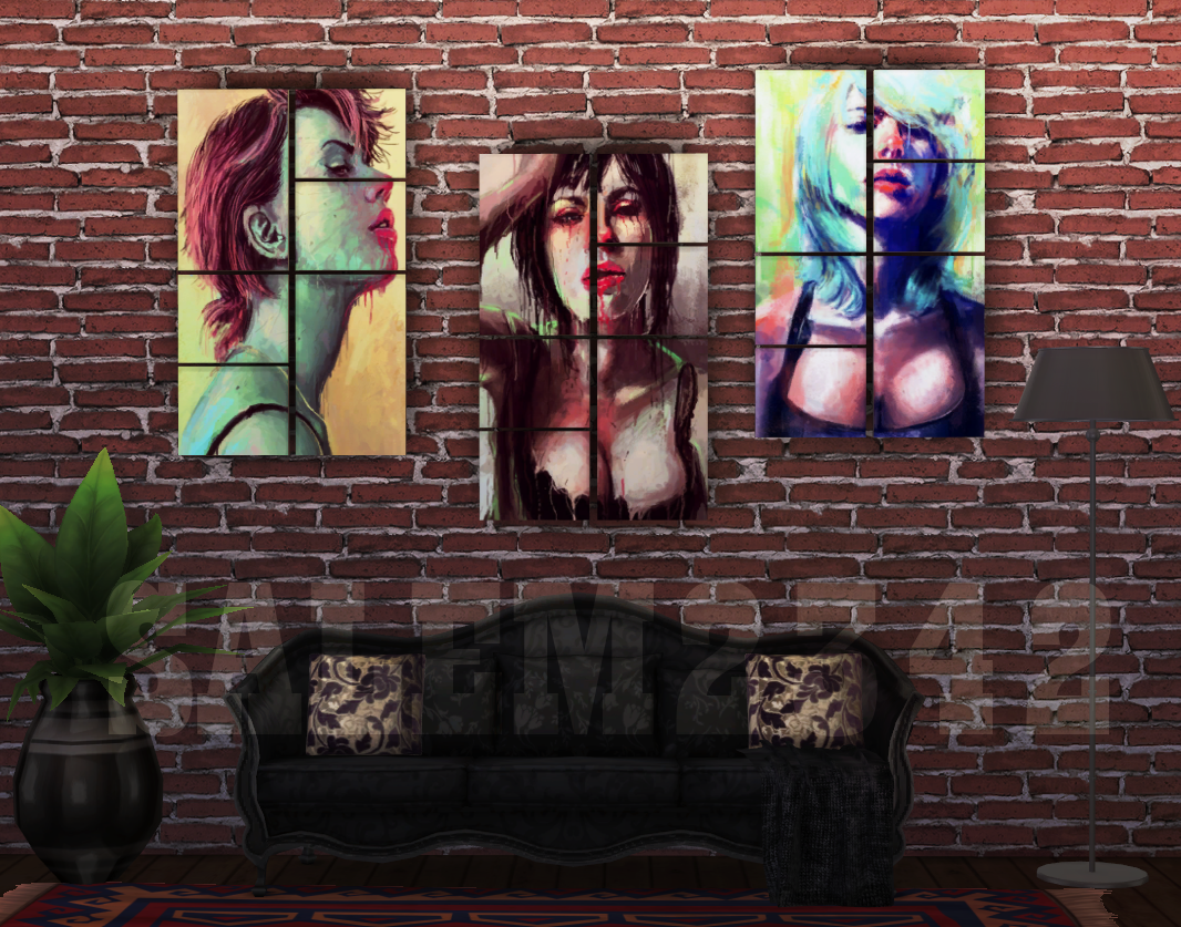 "THREE PAINTINGS ""Scarlett"" FOR THE SIMS 4 by salem2342"