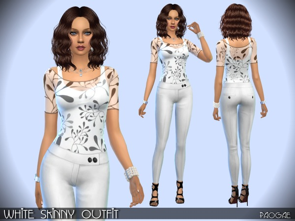 WhiteSkinnyOutfit by Paogae