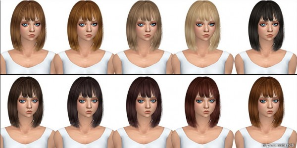 Silver Hair Retexture in 20 Colors for Females by Simista