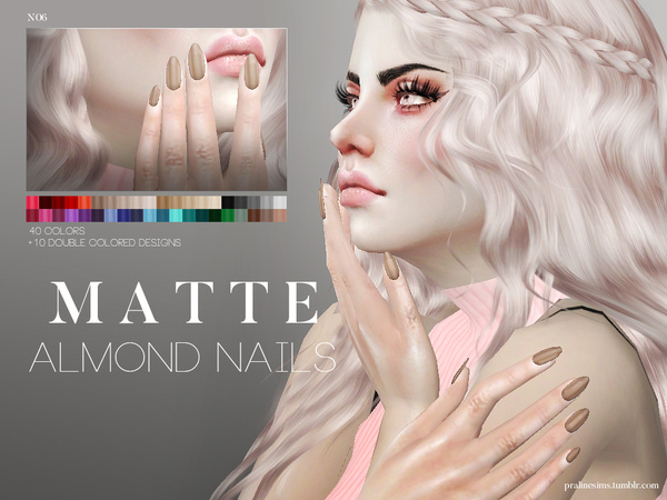 Matte Almond Nails N06 by Pralinesims