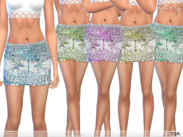 Metallic-Knit Mini Skirt by ekinege