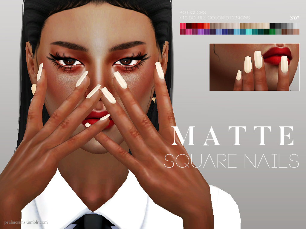 Matte Square Nails by Pralinesims