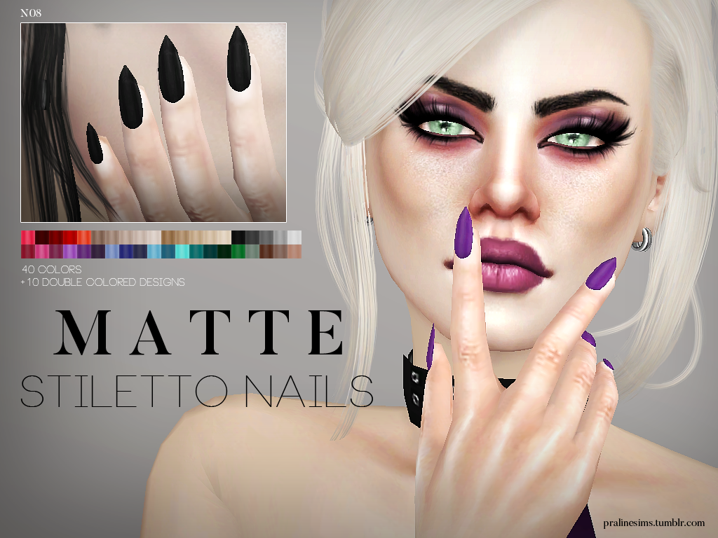 Matte Stiletto Nails by Pralinesims
