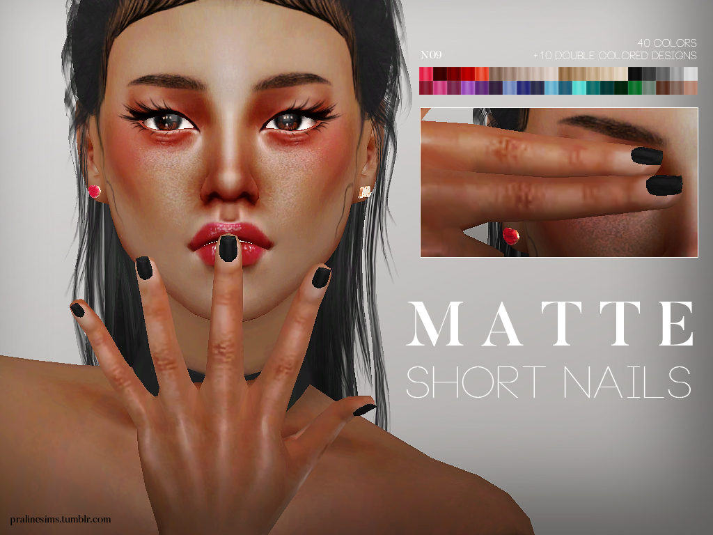 Matte Short Nails by Pralinesims