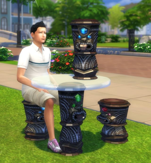 TS2 Castaway Stories Poison Idol Dining Set and Sculpture by Biguglyhag
